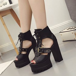 Shoespie Rugged Platform Lace Up Buckles Sandals