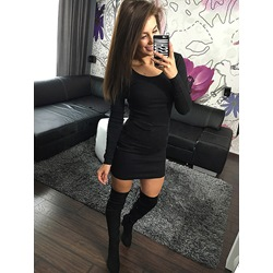 Above Knee Long Sleeve Patchwork Pullover Women's Casual Dress
