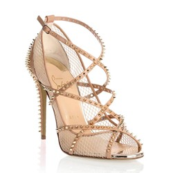 Shoespie Mesh Peep Toe Spikes Trim Strappy Sandals