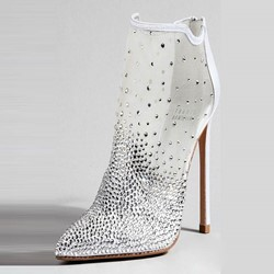 Shoespie Rhinestone High Stiletto Heel White Boots