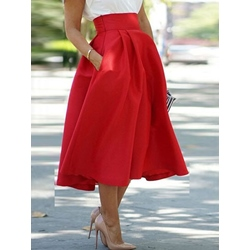 Ball Gown Mid-Calf Plain High-Waist Women's Skirt