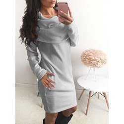 Plain Patchwork Above Knee Long Sleeve Women's Dress
