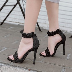 Shoespie Glitter Zipper Heel Covering Stiletto Heel Sandals