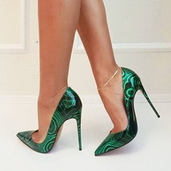 Shoespie Greeen Pointed-toe Shallow Stiletto Heels