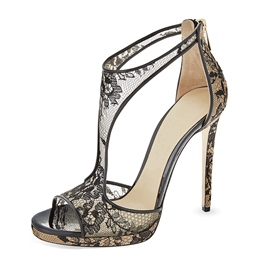 Shoespie Lace Embroidery Back Zipped Heel Sandals