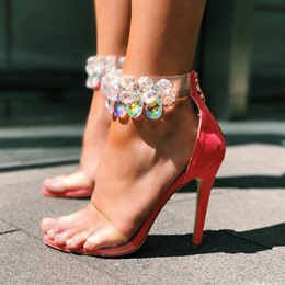 Ankle Strap Jelly Red Stiletto Heel Sandals