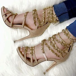 Shoespie Chains Strappy Stiletto Heel Sandals