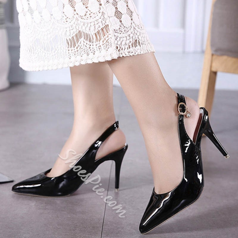 Shoespie Closed Toe Slingback Strap Buckle Stiletto Heel Sandals Shoespie