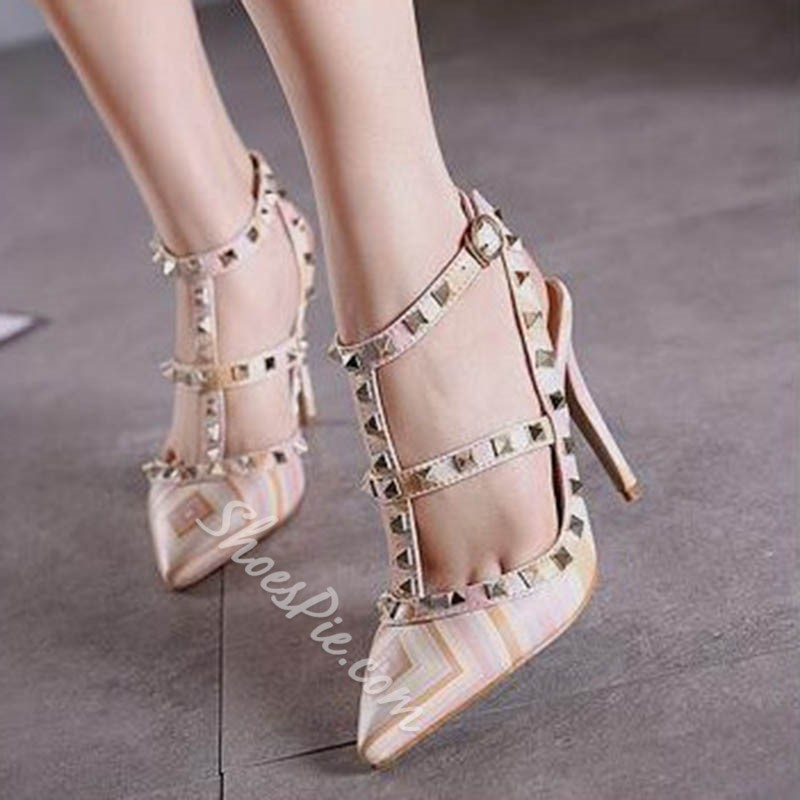 Shoespie Rivet Closed Toe Buckle Strappy Stiletto Heel Sandals Shoespie