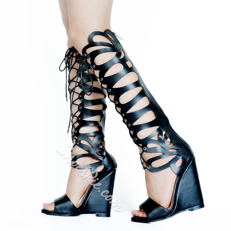 Shoespie Knee High Cutout Front Lace Up Wedge Sandals