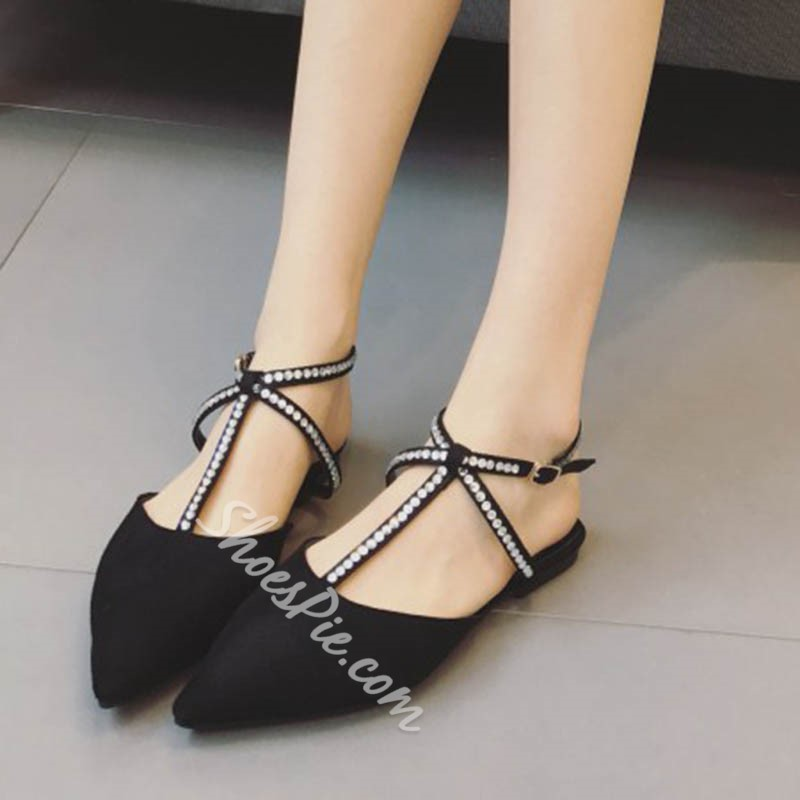 Shoespie Rhinestone Closed Toe Buckle Strappy Flat Sandals