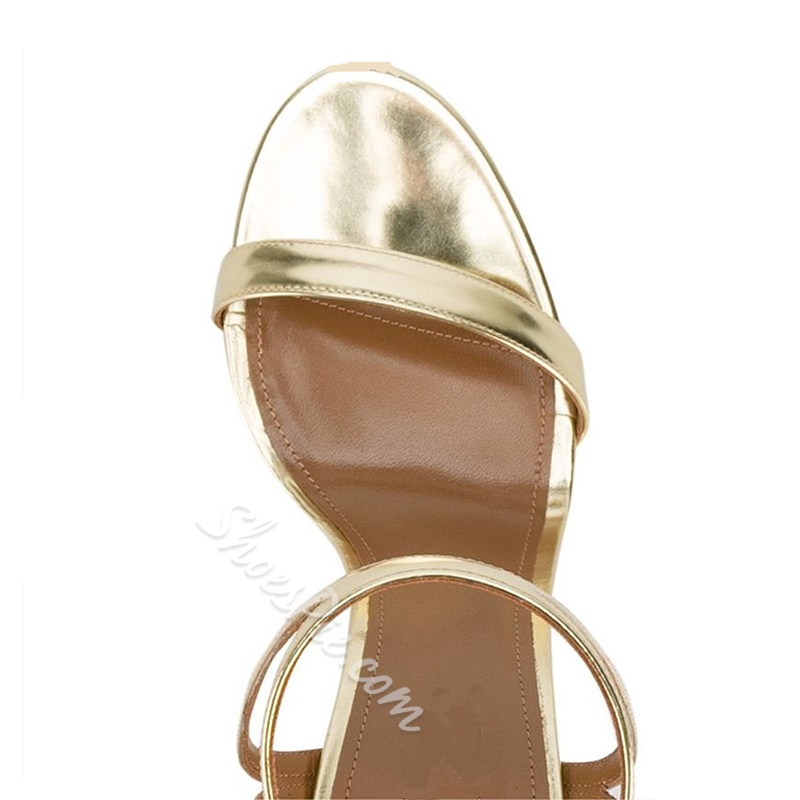 Shoespie Golden Strappy Dress Sandals