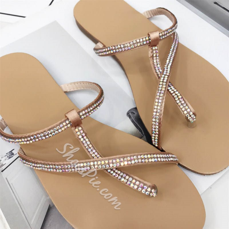 Shoespie Blingbling Strappy Thong Slippers