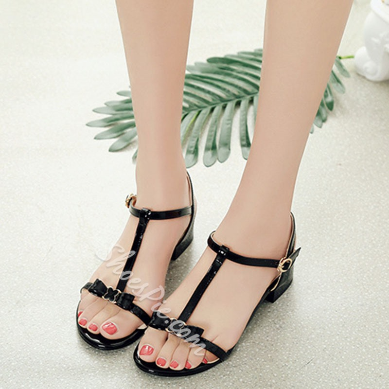 Shoespie Strappy T-Shaped Buckle Square Heel Sandals