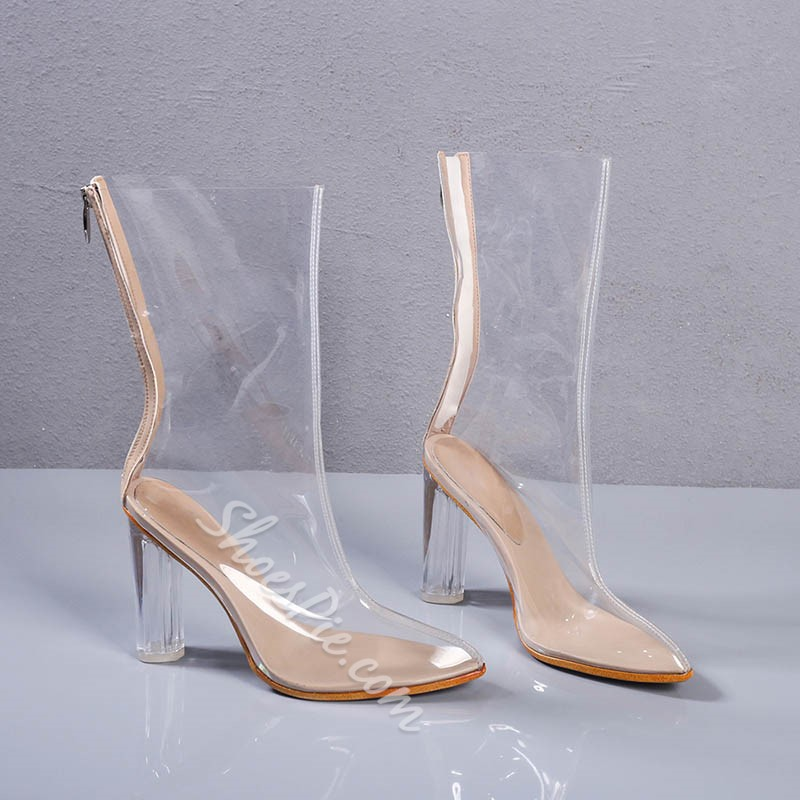 Shoespie Peep-toe Transparent Ankle Boots