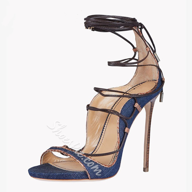 Shoespue Denim Lace Up Sandals
