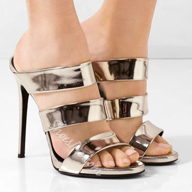 Shoespie Metalic Strappy Heel Mules