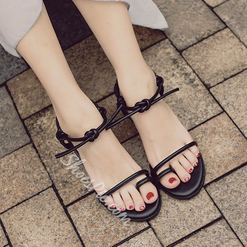 Shoespie Lace-Up Toe Ring Ankle Strap Chunky Heel Sandals