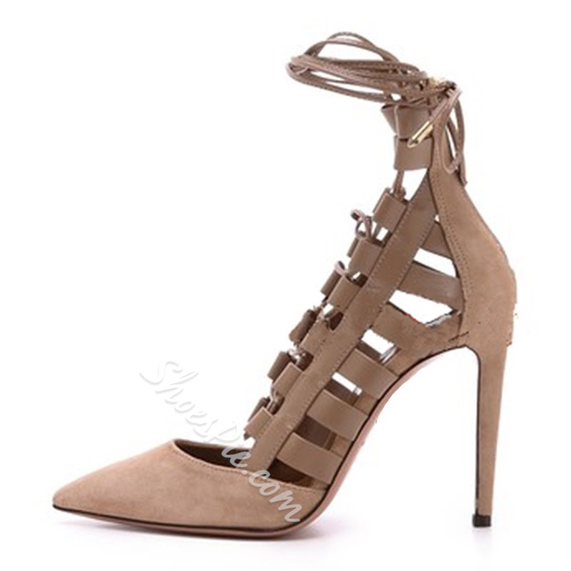Shoespie Pointed-toe Cross Strap Back Zipper Stiletto Heels