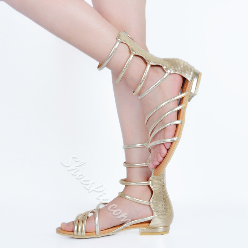 Shoespie Golden Back Zipped Strappy Gladiator Sandals