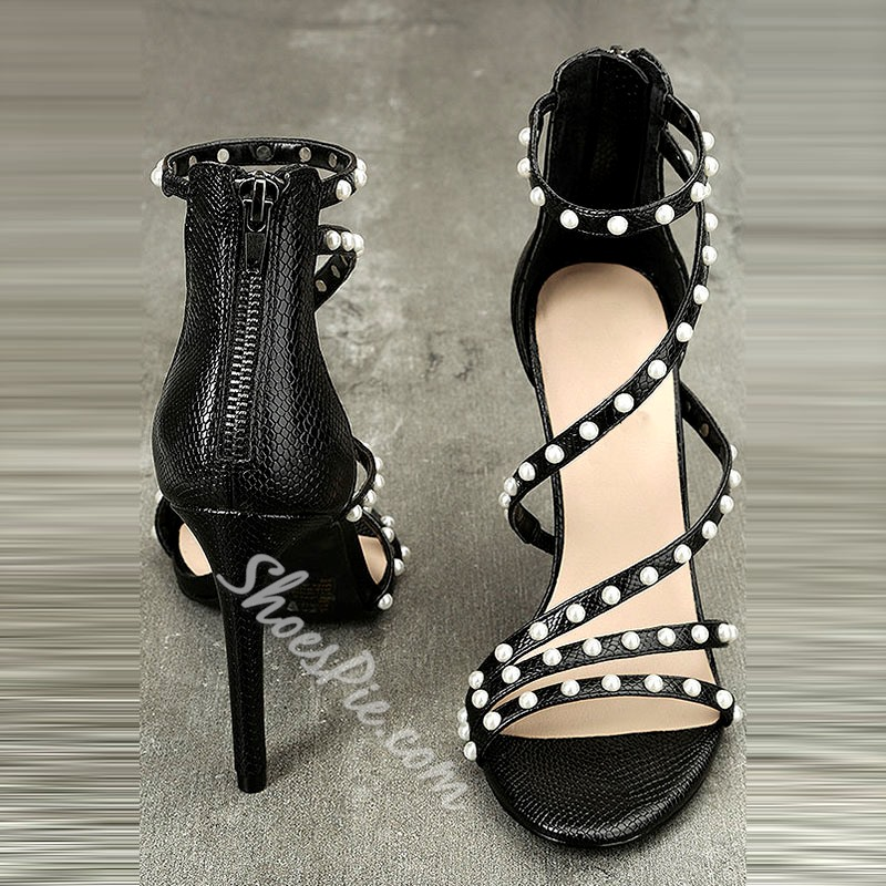 Shoespie Bead Zipper Open Toe Heel Sandals