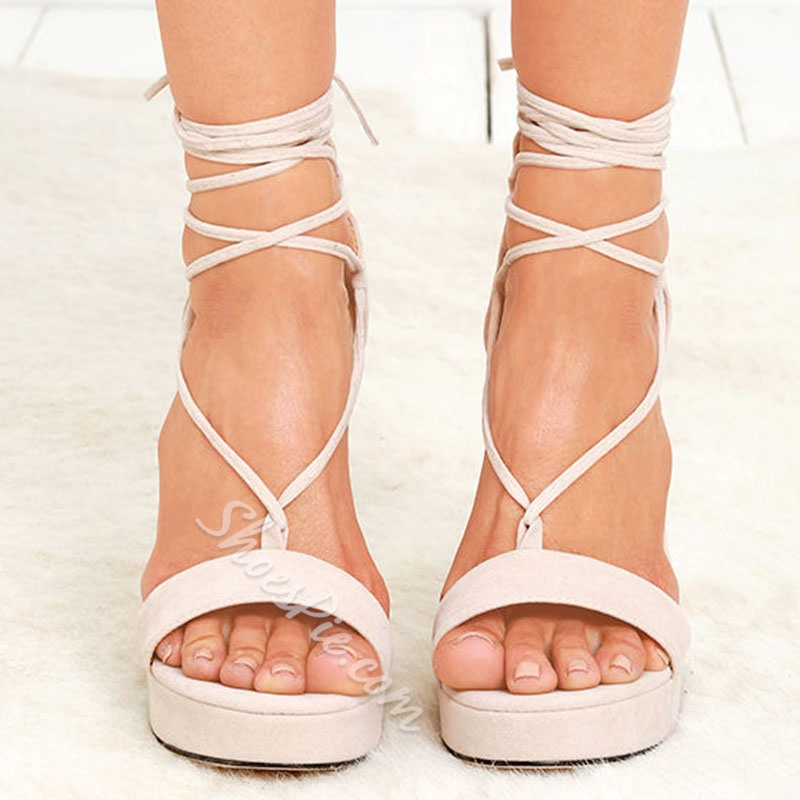 Shoespie Platform Lace-Up Open Toe Heel Sandals
