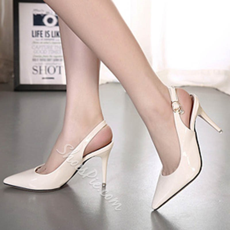 Shoespie Closed Toe Slingback Strap Buckle Stiletto Heel Sandals