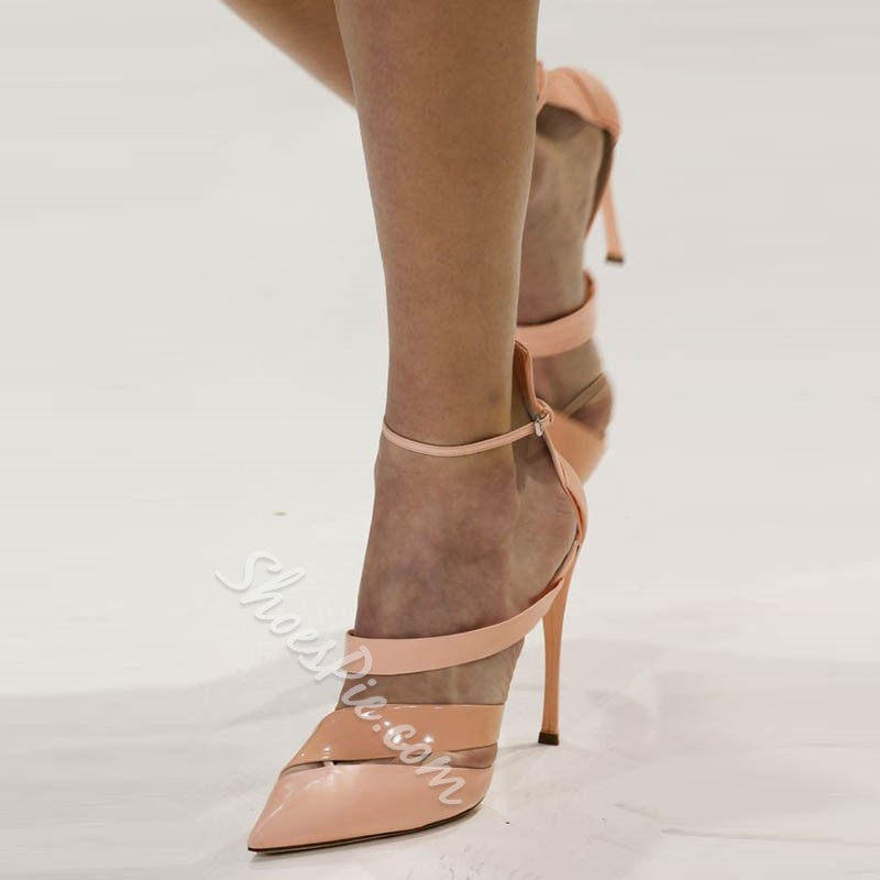Shoespie Luxurious Pointed-toe Metal Buckles Stiletto Heels