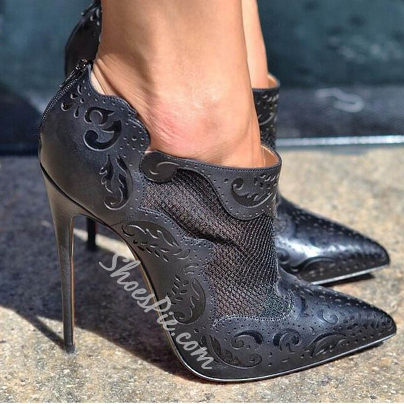 Shoepsie Black Patterned Pointed-toe Ankle Boots