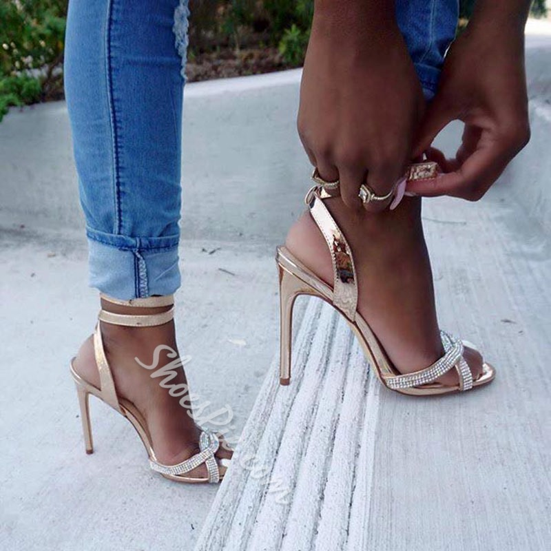 Shoespie Golden Strappy Heel Sandals