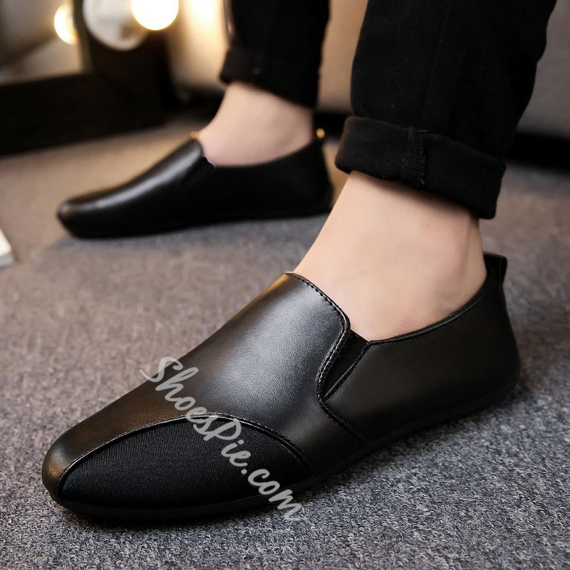 Shoespie Solid Color Round Toe Patchwork Men's Loafers