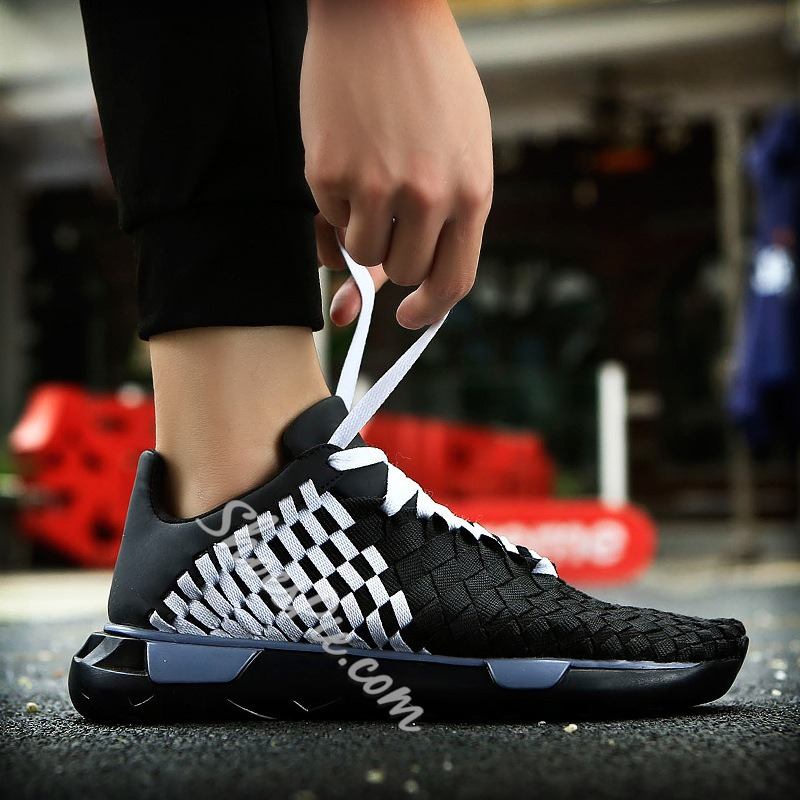 Shoespie SummerLow-Cut Upper Woven Color Block Sneakers Athletic Men Shoes
