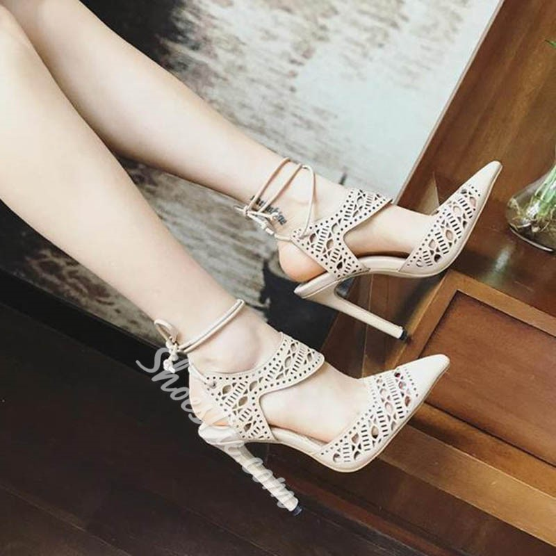 Shoespie Pointed-toe Cutout Lace-up Stiletto Heels