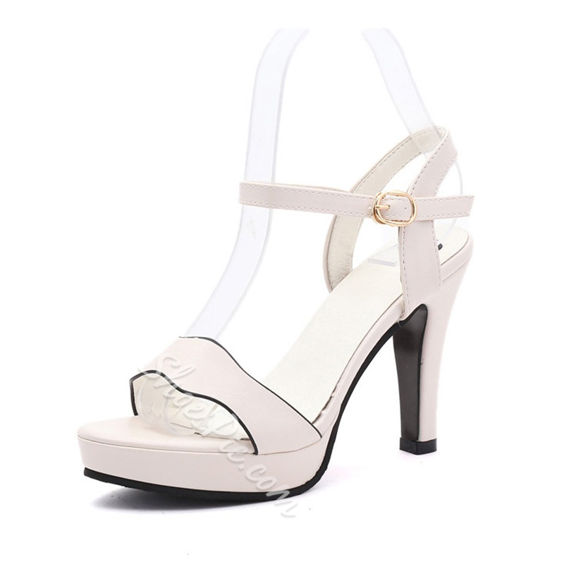 Shoespie Ankle Strap Line-Style Buckle Platform Stiletto Heel Sandals