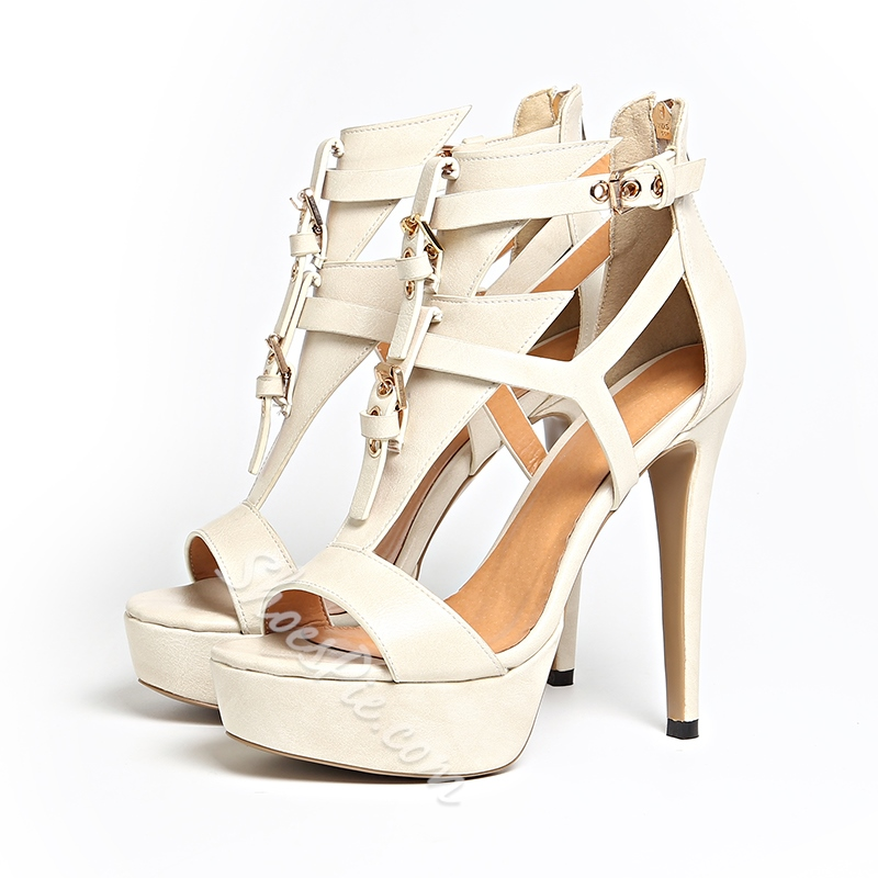 Shoespie Peep Toe Gladiator Zipper Platform Buckle Stiletto Heel Sandals