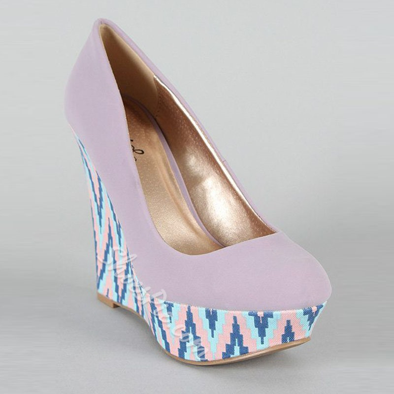 Shoespie Platform Print Color Block Wedge Heel