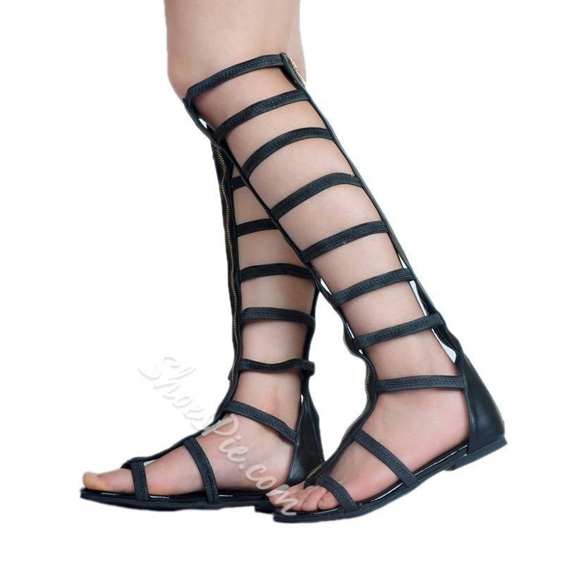 Shoespie Knee High Cutout Strappy Gladiator Sandals