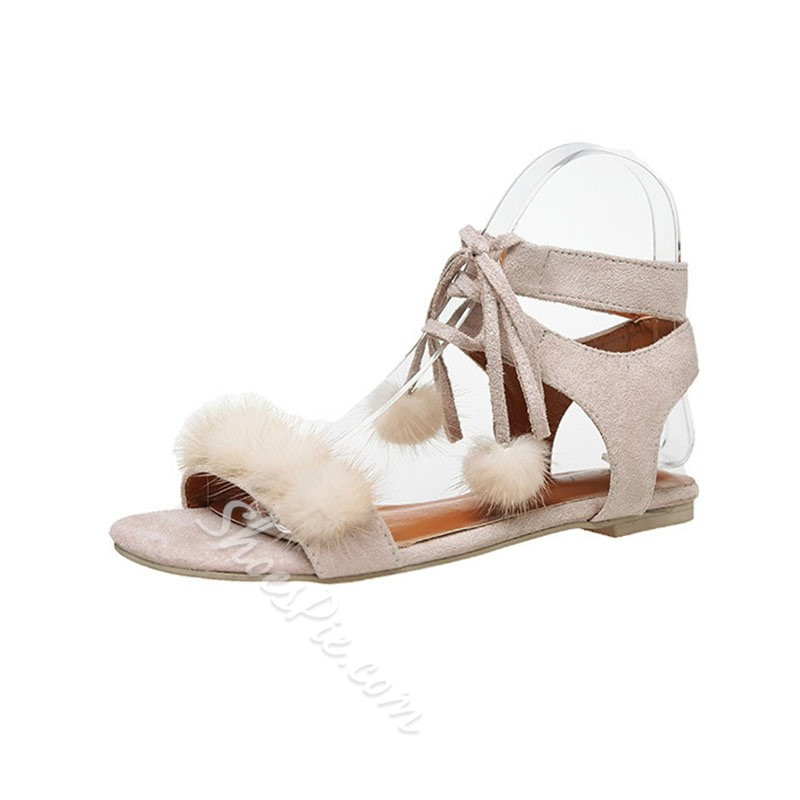 Shoespie Suede Fuzzy Ball Strappy Lace-Up Flat Sandals