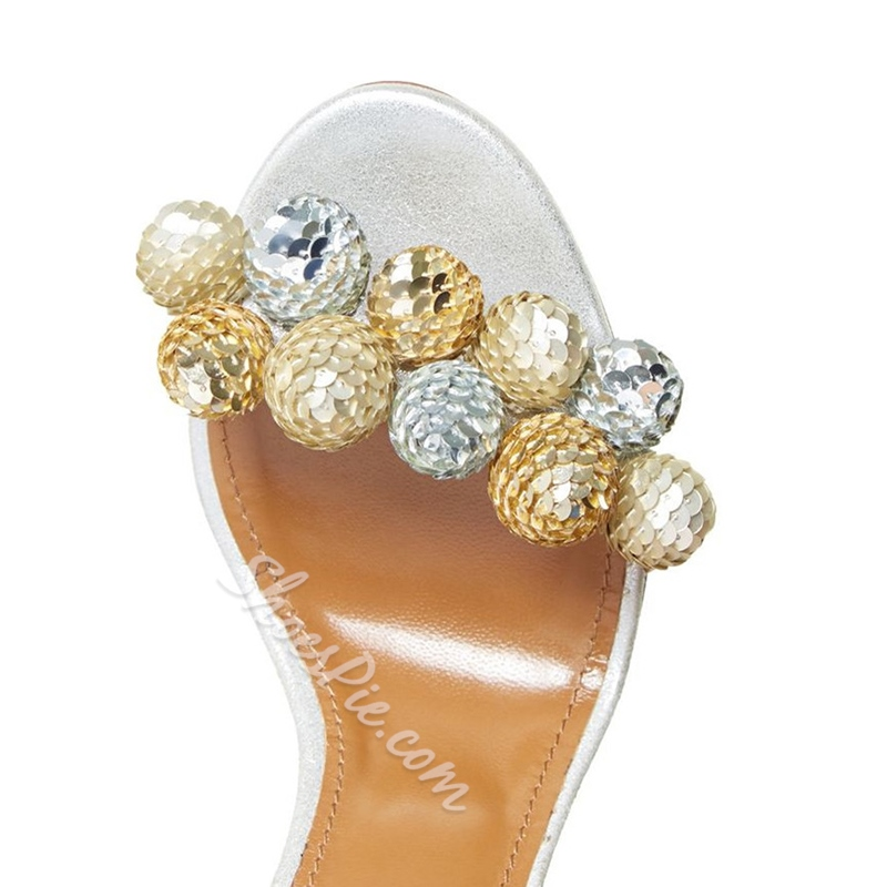 Shoespie Sequined Pompom Lace Up Sandals