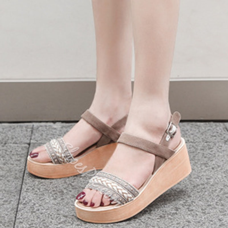 Shoespie Suede Line-Style Buckle Ankle Strap Wedge Heel Sandals