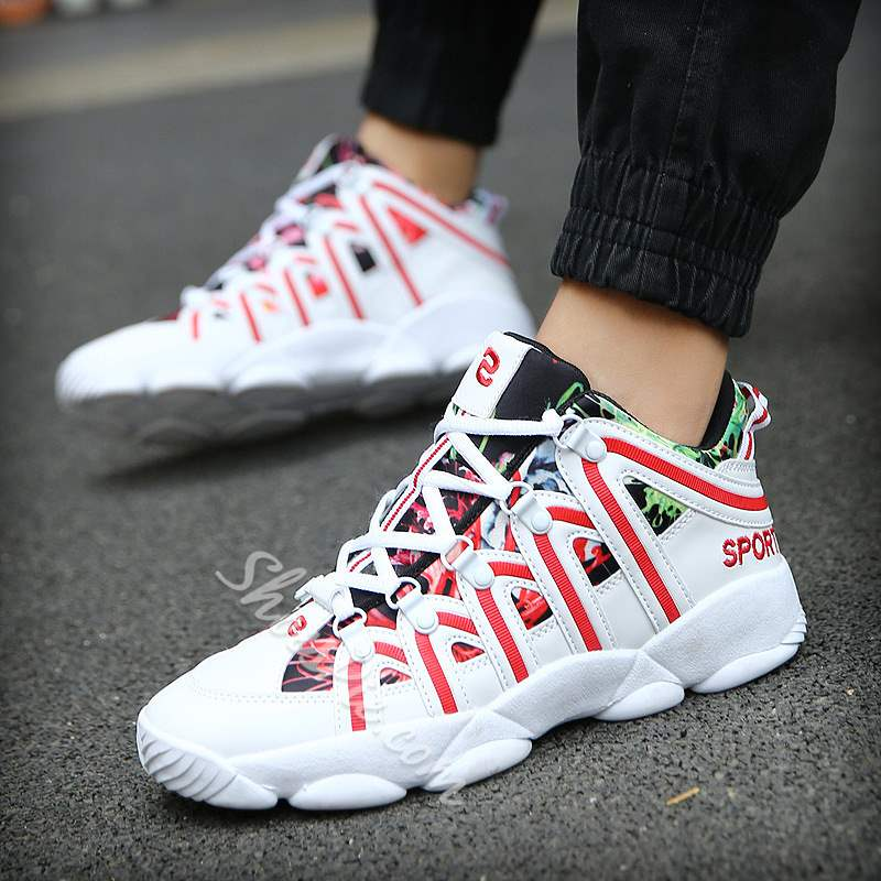 Shoespie Mesh Lace-Up Color Block Print Mid-Cut Upper Sneakers Athletic Men Shoes