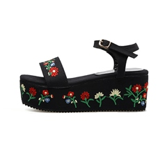 Shoespie Embroidery Platform Floral Ankle Strap Wedge Sandals