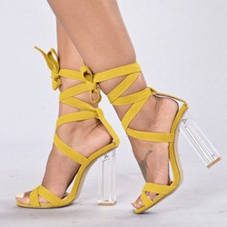 Yellow Sexy Lace-Up High Heel Sandals