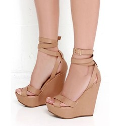 Platform Buckle Peep Toe Wedge Sandal