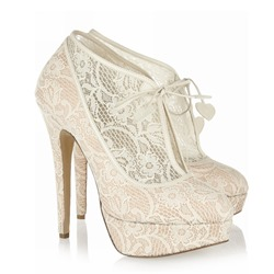 Shoespie Lace Round Toe Lace-Up Stiletto Heel Platform Heels