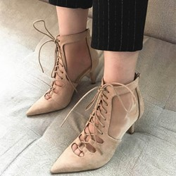 ShoespieSexy Back Zipper Cross Strap Ankle Boots