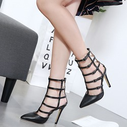 Shoespie Black Hollow Buckle Stiletto Heels