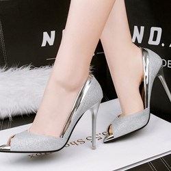 Shoespie Sexy Sequined Peep Toe Stiletto Heels