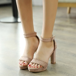 Shoespie Suede Heel Covering Line-Style Buckle Chunky Heel Sandals