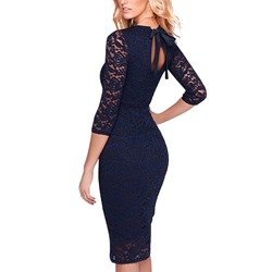 Shoespie Hollow Lace-Up Pencil Three-Quarter Sleeve Knee-Length Bodycon Dress